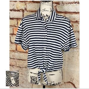 SPLENDID NWT Navy Striped Tie Front Button Up Top